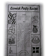Cornish Gift Tea Towel for the Cornish Pasty Recipe
