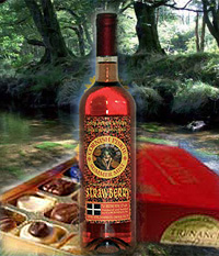 Cornish Strawberry Moorland Wine and 12 Luxury Trenace Chocolates.